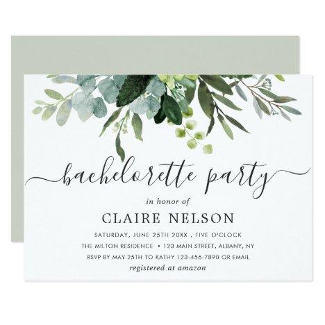 Eucalyptus Green Foliage Bachelorette Party Invitation