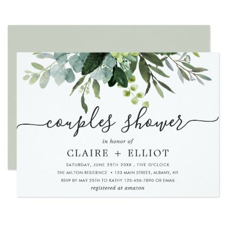 Eucalyptus Green Foliage Couples Shower Invitation