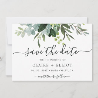 Eucalyptus Green Foliage Save the Date Card