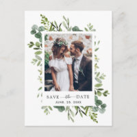 Eucalyptus Green Foliage Save the Date Photo Announcement Postcard