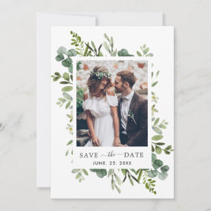 green foliage save the date EPG43 Wedding Save-the-Date Sample