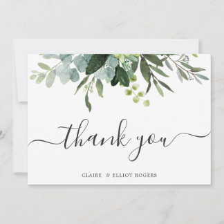 Eucalyptus Green Foliage Thank You Card