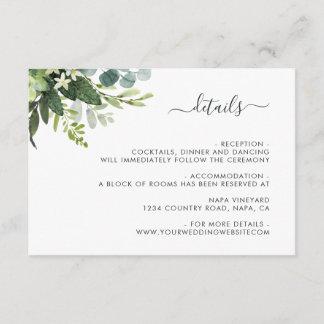 Eucalyptus Green Foliage Wedding Details Enclosure Card