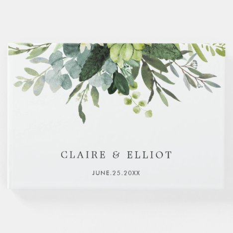 Eucalyptus Green Foliage Wedding Guest Book