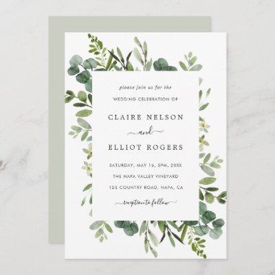 Eucalyptus Green Foliage Wedding Invitation