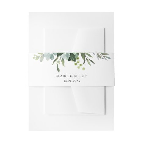 Eucalyptus Green Foliage Wedding Invitation Belly Band