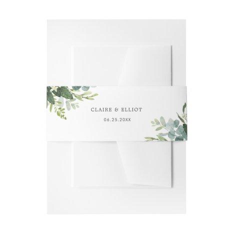 Eucalyptus Green Foliage Wedding Invitation Invitation Belly Band