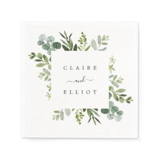 Eucalyptus Green Foliage Wedding Paper Napkins