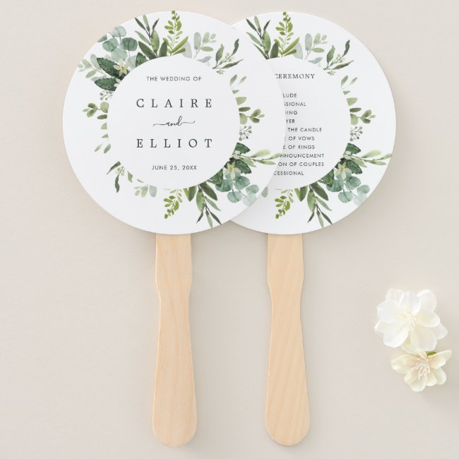 Eucalyptus Green Foliage Wedding Program Hand Fan