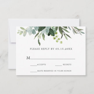Eucalyptus Green Foliage Wedding RSVP Card