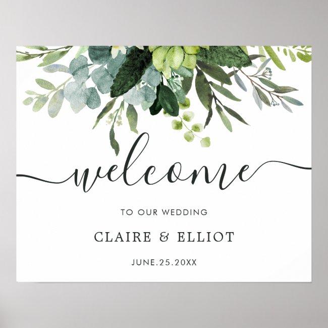 Eucalyptus Green Foliage Wedding Welcome Sign