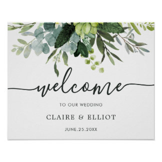Eucalyptus Green Foliage Wedding Welcome Sign