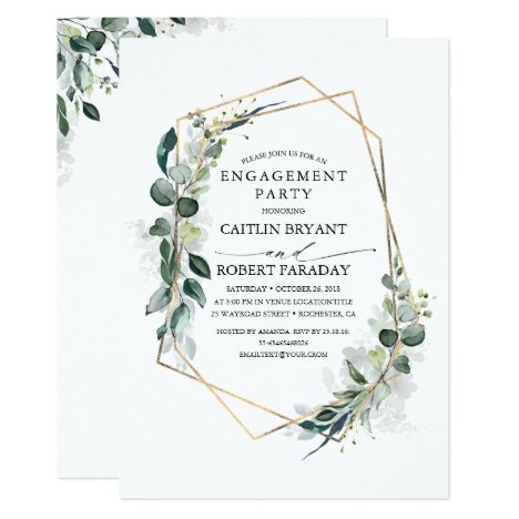 Eucalyptus Greenery Geometric Engagement Party Invitation