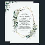 "Eucalyptus Greenery Geometric Modern Wedding Invitation<br><div class=""desc"">Geometric gold frame and lush watercolor botanical eucalyptus greenery elegant wedding invitations.</div>"