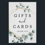 """Eucalyptus Greenery Gifts and Cards Sign<br><div class=""""desc"""">Help your guests easily find the gift table with this lovely sign!</div>"""