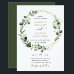 "Eucalyptus Greenery Gold Geometric Frame Wedding Invitation<br><div class=""desc"">This elegant and customizable Wedding Invitation features an geometric gold frame adorned with moody watercolor eucalyptus leaves & has been paired with a whimsical calligraphy and a classy serif font in gold and gray. To make advanced changes,  please select ""Click to customize further"" option under Personalize this template.</div>"