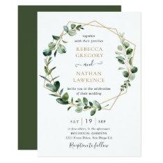 Eucalyptus Greenery Gold Geometric Frame Wedding Invitation at Zazzle