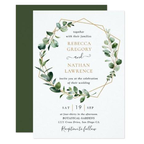 Eucalyptus Greenery Gold Geometric Frame Wedding Invitation