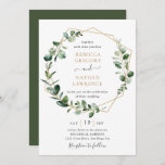 """Eucalyptus Greenery Gold Geometric Frame Wedding Invitation<br><div class=""""desc"""">This elegant and customizable Wedding Invitation features an geometric gold frame adorned with moody watercolor eucalyptus leaves & has been paired with a whimsical calligraphy and a classy serif font in gold and gray. To make advanced changes,  please select """"Click to customize further"""" option under Personalize this template.</div>"""