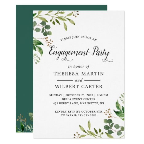 Eucalyptus Greenery Leaves Chic Engagement Party Invitation