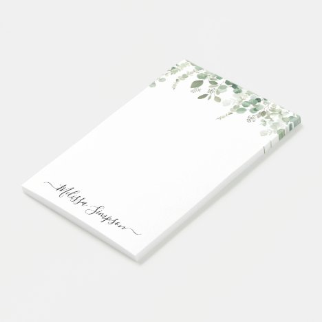 eucalyptus greenery personalized post-it notes
