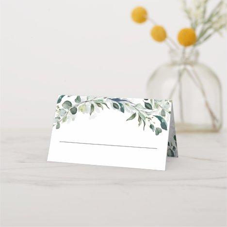 Eucalyptus Greenery Watercolor Wedding Place Card