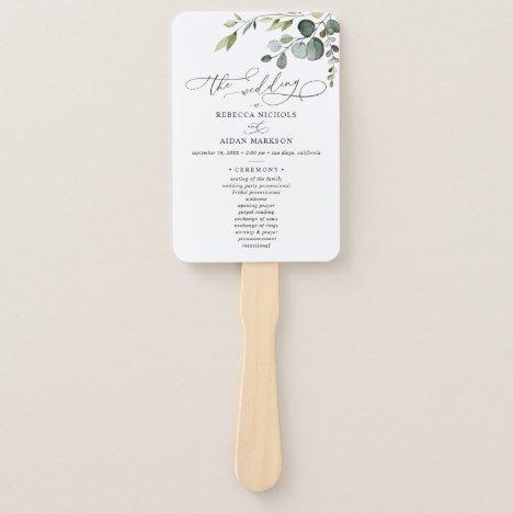 Eucalyptus Greenery Wedding Ceremony Program Hand Fan