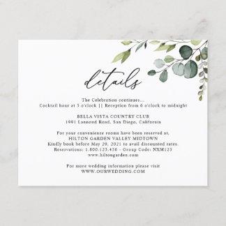 Eucalyptus Greenery Wedding Details Horizontal Enclosure Card