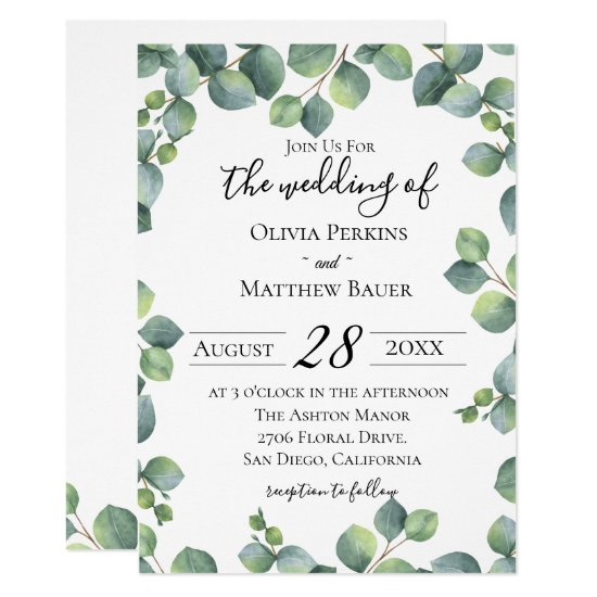 Eucalyptus Greenery Wedding Invitation