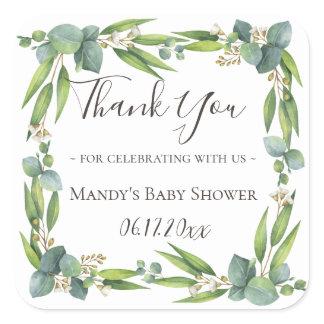 Eucalyptus Greenery Wreath Thank You Square Sticker