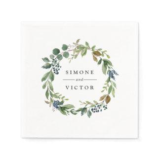 Eucalyptus Grove   Botanical Personalized Wedding Paper Napkin