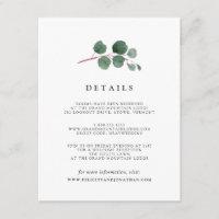 Eucalyptus Grove Guest Information Card