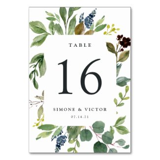 Eucalyptus Grove Personalized Table Number Card