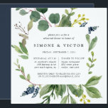 """Eucalyptus Grove Rehearsal Dinner Invitation<br><div class=""""desc"""">Our Eucalyptus Grove rehearsal dinner invitation in a unique square format frames your ceremony rehearsal and dinner details with watercolor eucalyptus foliage,  green leaves and tiny navy blue buds. A modern yet organic choice for fall and winter rehearsal dinners featuring fresh green botanical foliage and elegant lettering.</div>"""