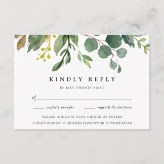 Eucalyptus Grove RSVP Card w/ Meal Choice