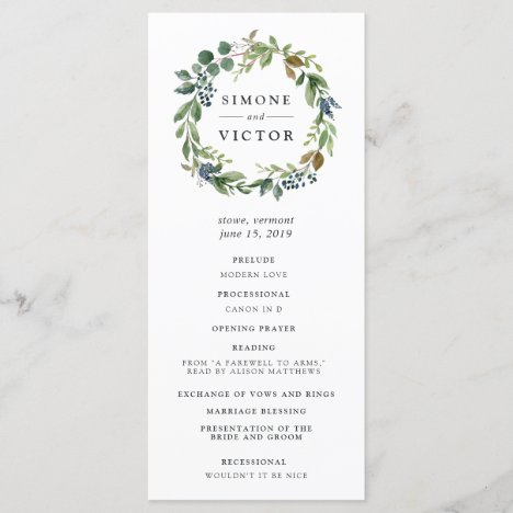 Eucalyptus Grove Wedding Ceremony Program