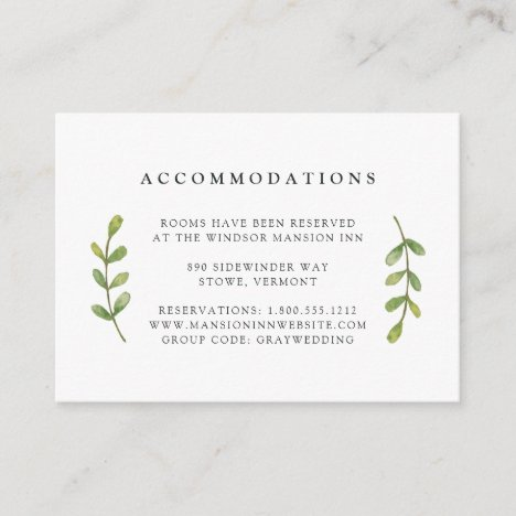 Accommodation Cards
