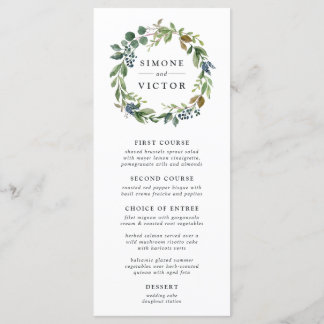 Eucalyptus Grove Wedding Menu Card