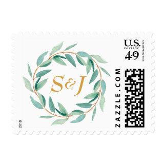 Eucalyptus Initial Wedding Stamp