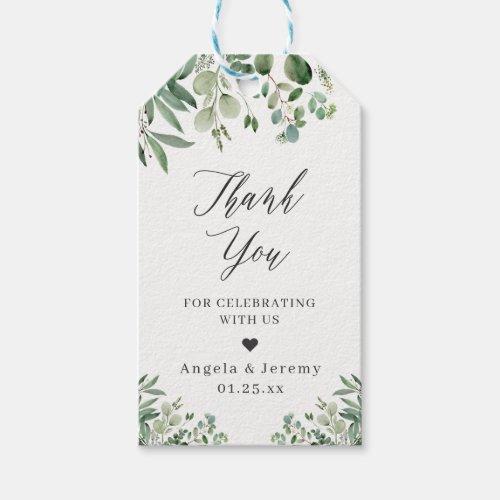 Eucalyptus Leaves Elegant Greenery Thank You Gift Tags