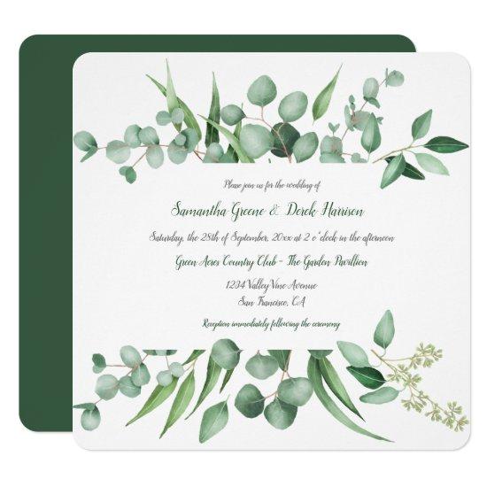 Eucalyptus Leaves Frame Square Invitations