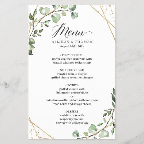 Eucalyptus Leaves Geometric Wedding Dinner Menu
