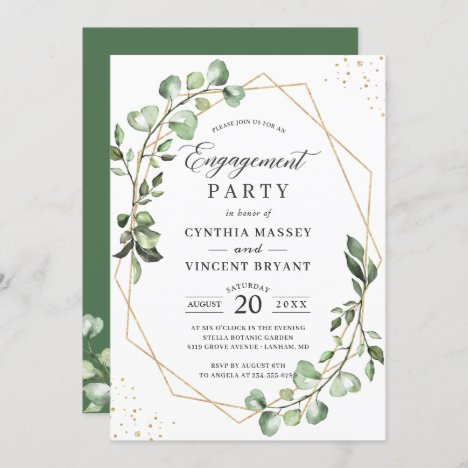 Eucalyptus Leaves Gold Geometric Engagement Party Invitation