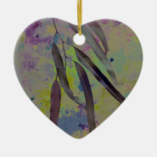 EUCALYPTUS LEAVES Double-Sided HEART CERAMIC CHRISTMAS ORNAMENT