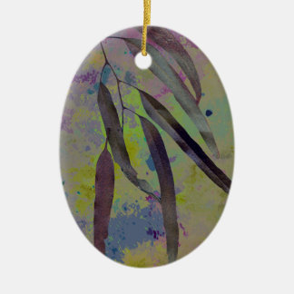 EUCALYPTUS LEAVES Double-Sided OVAL CERAMIC CHRISTMAS ORNAMENT