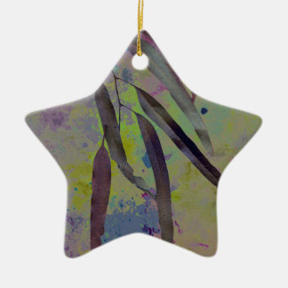 EUCALYPTUS LEAVES Double-Sided STAR CERAMIC CHRISTMAS ORNAMENT