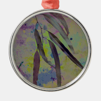 EUCALYPTUS LEAVES ROUND METAL CHRISTMAS ORNAMENT