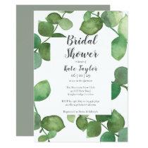 Eucalyptus Leaves Script Bridal Shower Invitation