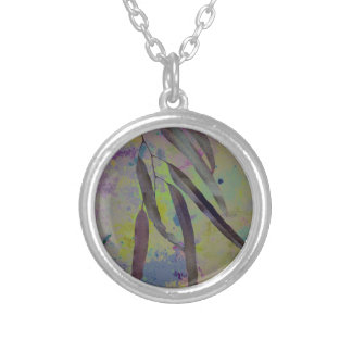EUCALYPTUS LEAVES SILVER PLATED NECKLACE