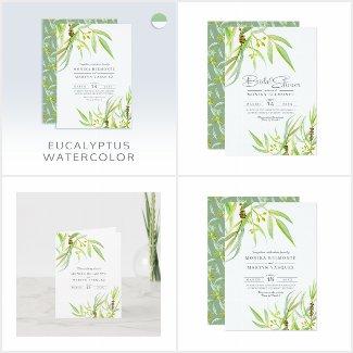 Eucalyptus leaves watercolor art wedding